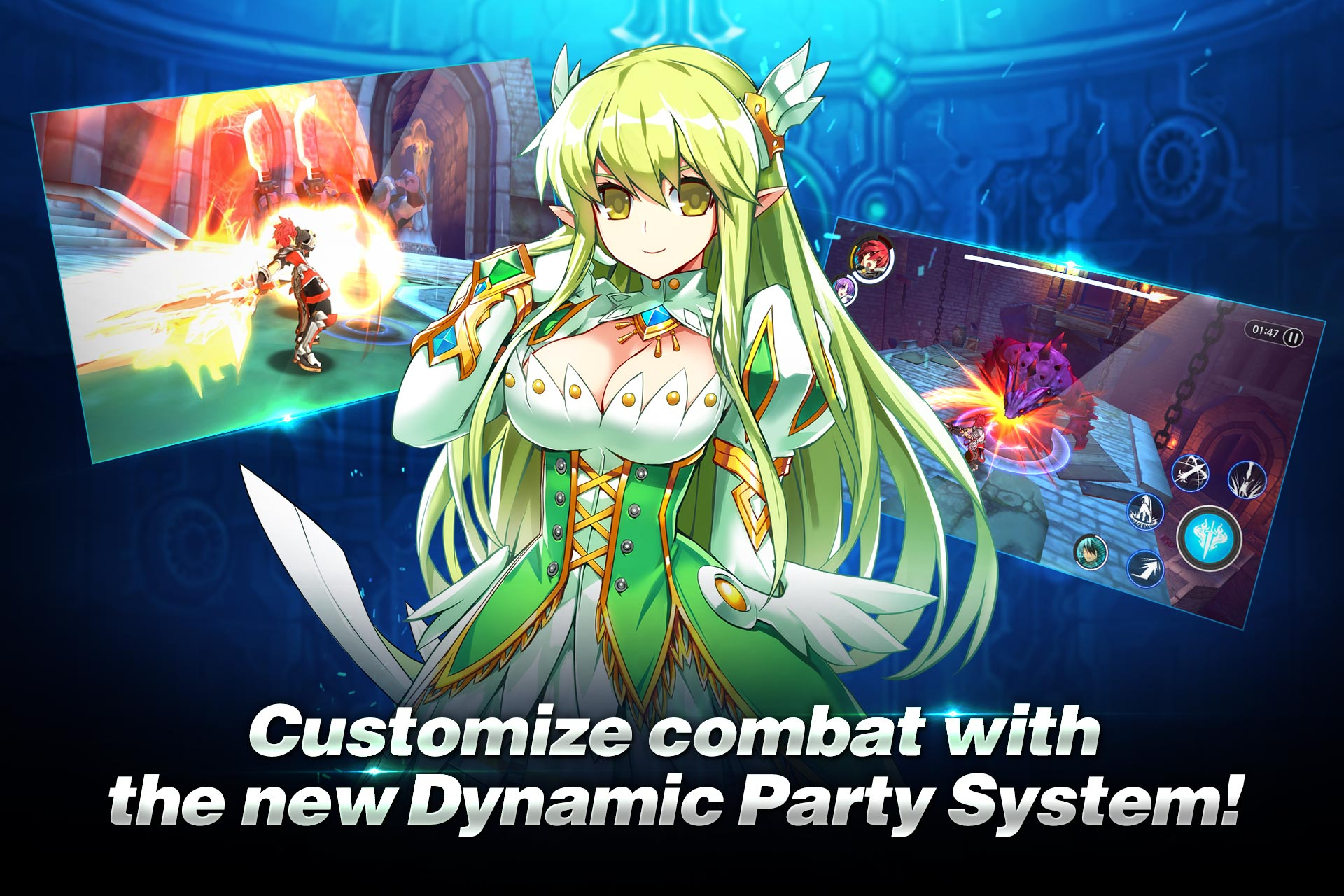 Dynamic Party System Create A Of Courageous Heroes With Unique Talents And Personalities Such As Elsword Aisha Rena Raven Players Can Swap